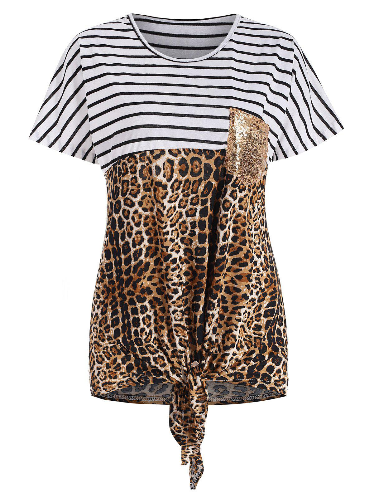 New Striped and Leopard Print Knot Front Sequined Pocket T-shirt