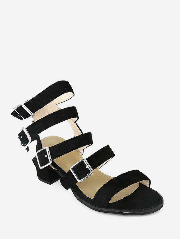 Trendy Buckle Strap Cadged Chunky Heel Sandals