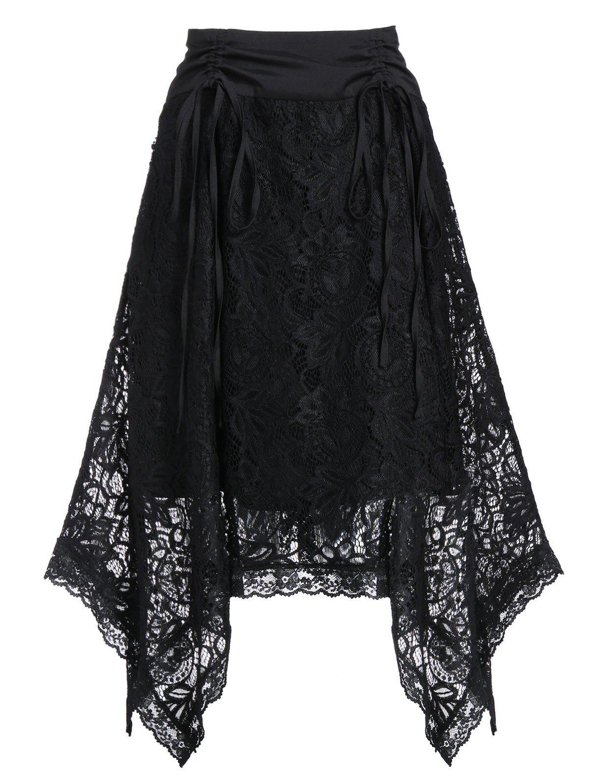 Fancy High Rise Lace Asymmetrical Cinched Skirt