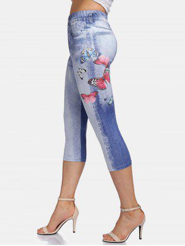 Cloud Wash Butterfly Print Cropped Leggings