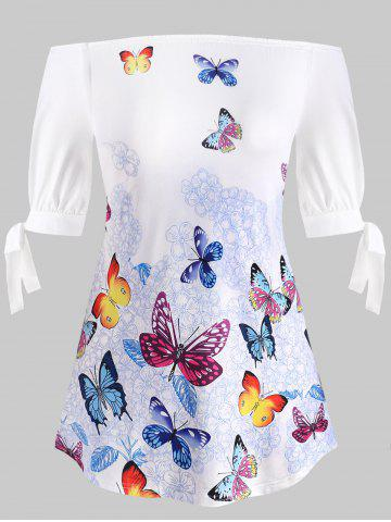 Plus Size Tie Sleeve Off Shoulder Butterfly Print T-shirt