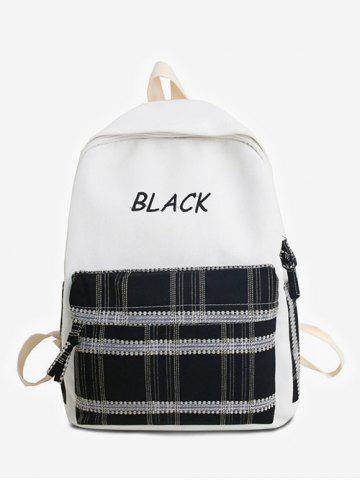 Letter Embroidery Plaid Patch Casual Backpack