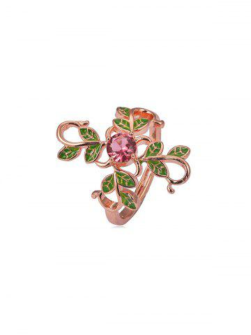 Floral Leaf Copper Rhinestone Ring