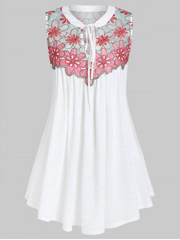 Plus Size Front Tie Embroidered Swing Tank Top