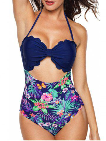 Floral Leaf Print Scallped Cut Out Swimwear