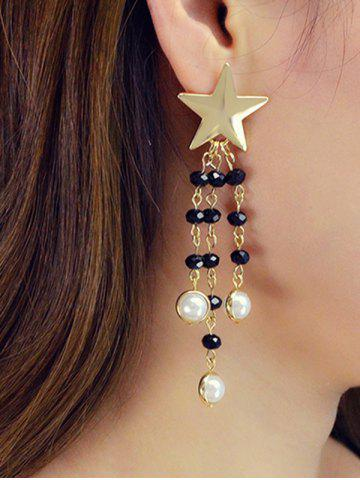 Star Beaded Faux Pearl Fringe Earrings