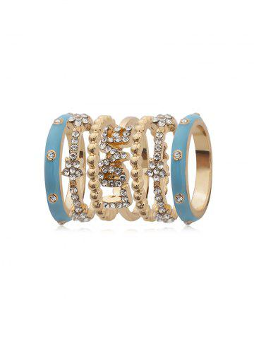 7Pcs Letter Rhinestone Ring Set