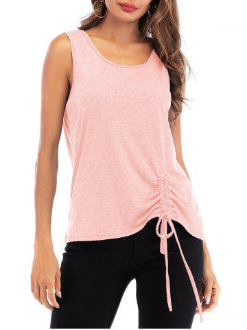 Cinched Scoop Neck Solid Tank Top