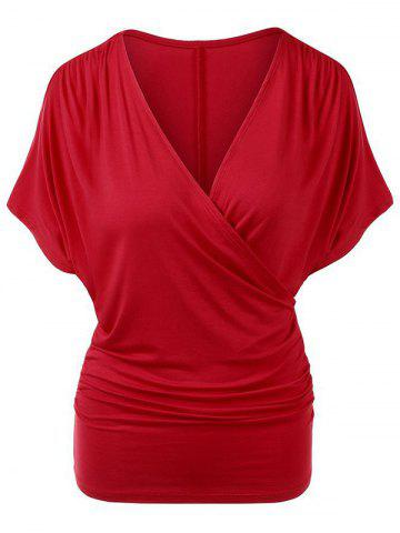 Plunging Surplice Ruched Casual Tunic Tee