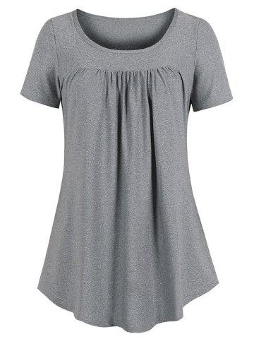 Curved Hem Pleated Tunic Top