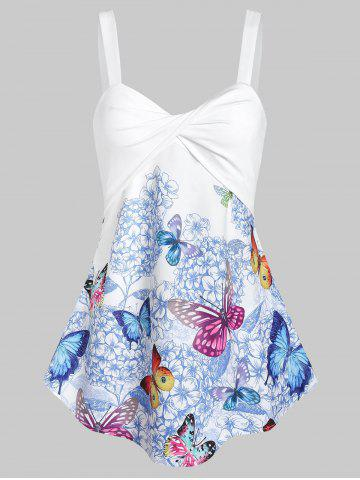e5049f4e2237 Floral Butterfly Print Twisted Trapeze Tank Top