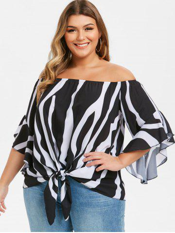 Plus Size Striped Off Shoulder Knotted Flounce Cuffs Blouse