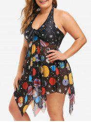 Plus Size Handkerchief Halter Starry Sky Tankini Set -