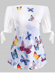 Plus Size Tie Sleeve Off Shoulder Butterfly Print T-shirt -
