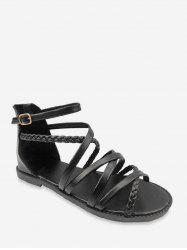 Open Toe Cross Strappy Roman Flat Sandals -