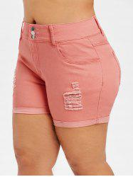 Plus Size Ripped Denim Shorts -