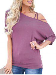 Skew Neck Batwing Sleeve Solid T-shirt -