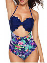 Floral Leaf Print Scallped Cut Out Swimwear -