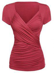 Plunging Ruched Plain T-shirt -