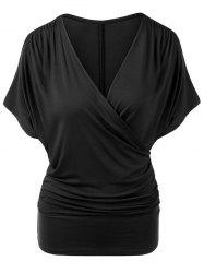 Plunging Surplice Ruched Casual Tunic Tee -