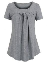 Curved Hem Pleated Tunic Top -