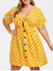 Plus Size Knot Polka Dot Dress -