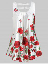 Rose Print Cut Out Pleated Tank Top -