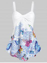 Floral Butterfly Print Twisted Trapeze Tank Top -