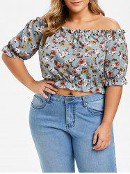 Plus Size Floral Off The Shoulder Top -