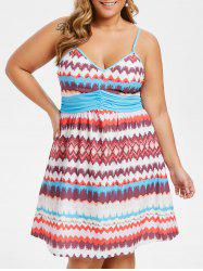 Plus Size Zigzag Ruched Cami Flare Dress -