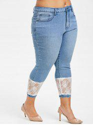 Plus Size Lace Panel Skinny Jeans -