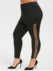 Plus Size High Rise Lace Panel Ninth Leggings -