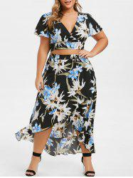 Plus Size Floral Print V Neck High Low Two Piece Dress -