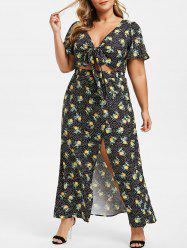 Plus Size Dotted Peach Print High Slit Two Piece Dress -