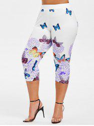Plus Size Butterfly Print Capri Leggings -
