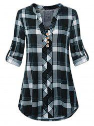 Plus Size Roll Up Sleeve Split Neck Plaid Blouse -