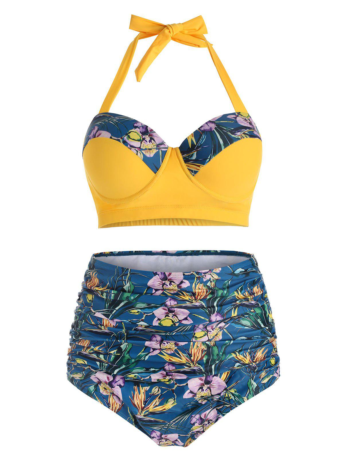 Outfit Floral Print Underwire Halter Bikini Swimsuit