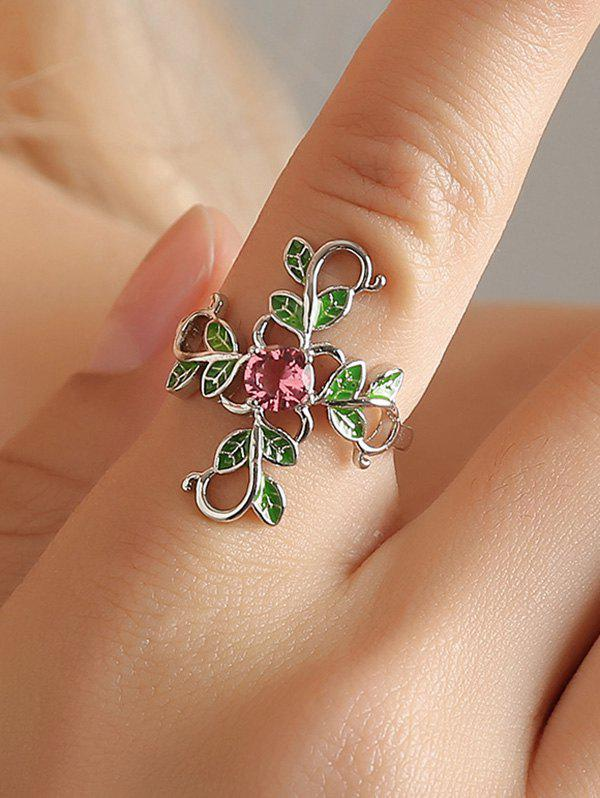 Outfit Floral Leaf Copper Rhinestone Ring