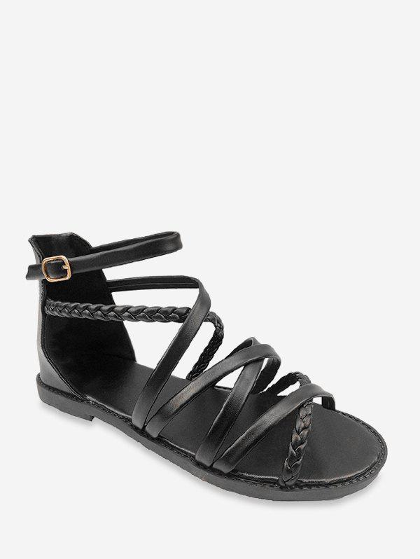 Fashion Open Toe Cross Strappy Roman Flat Sandals
