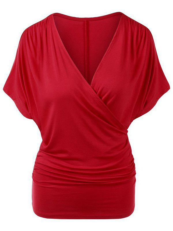 Sale Plunging Surplice Ruched Casual Tunic Tee