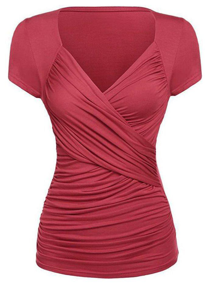 Affordable Plunging Ruched Plain T-shirt