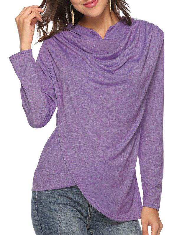 Outfits Heather Uneven Hem Cowl Front Hoodie