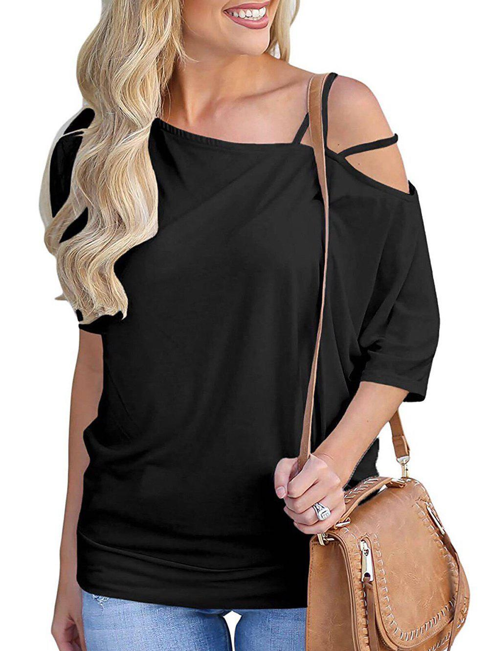 Outfit Skew Neck Batwing Sleeve Solid T-shirt