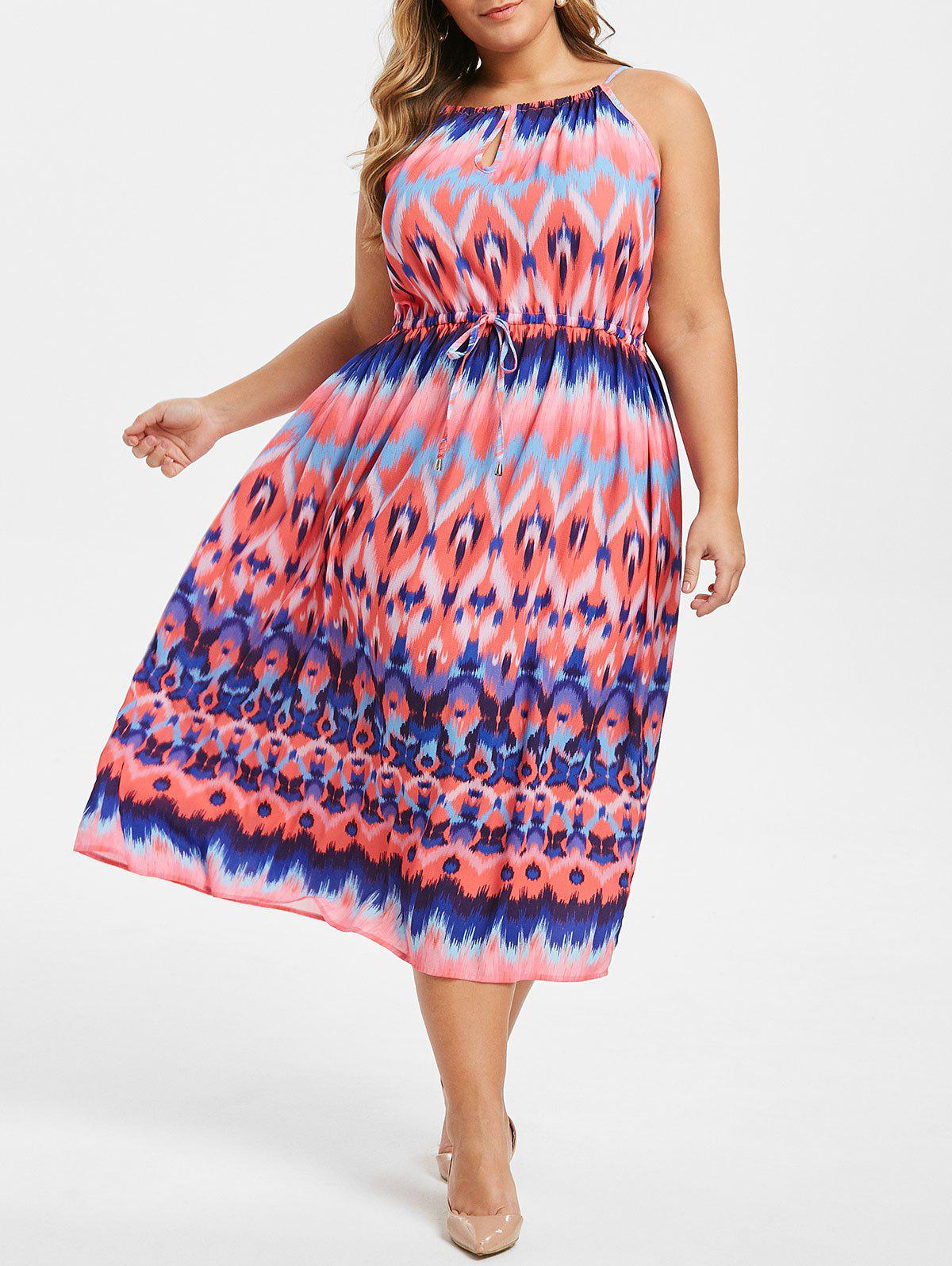 Plus Size Keyhole Waist Drawstring Zigzag Dress фото