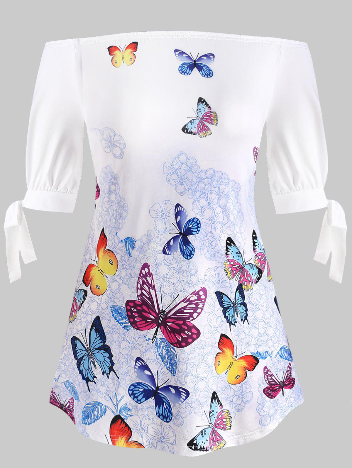 Hot Plus Size Tie Sleeve Off Shoulder Butterfly Print T-shirt