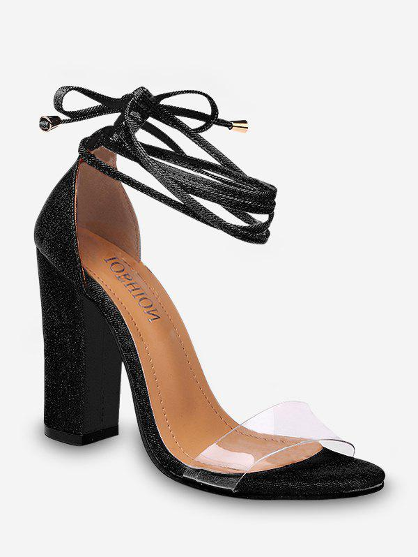 Store Transparent Strap Lace Up High Heel Sandals