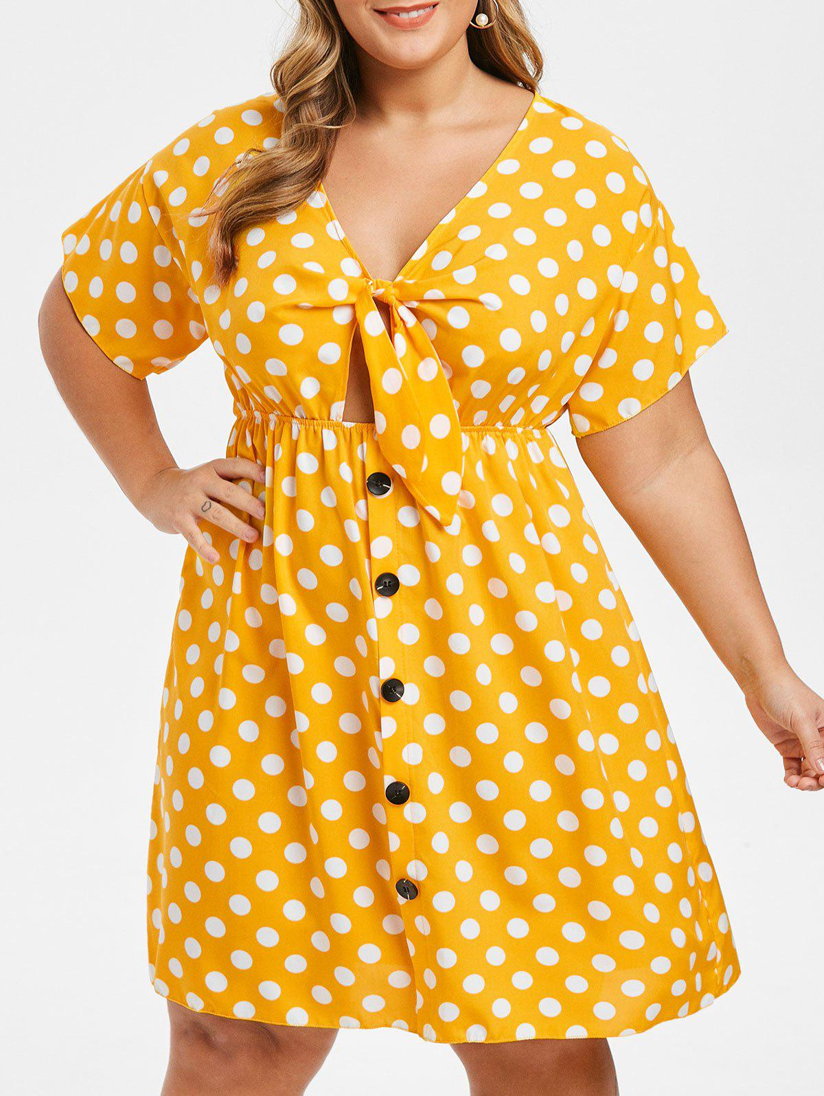 Unique Plus Size Knot Polka Dot Dress