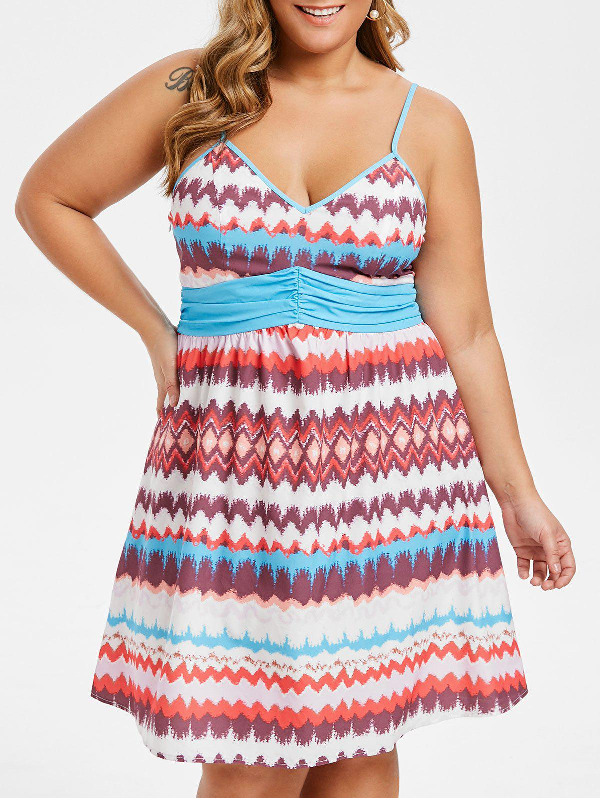 Discount Plus Size Zigzag Ruched Cami Flare Dress