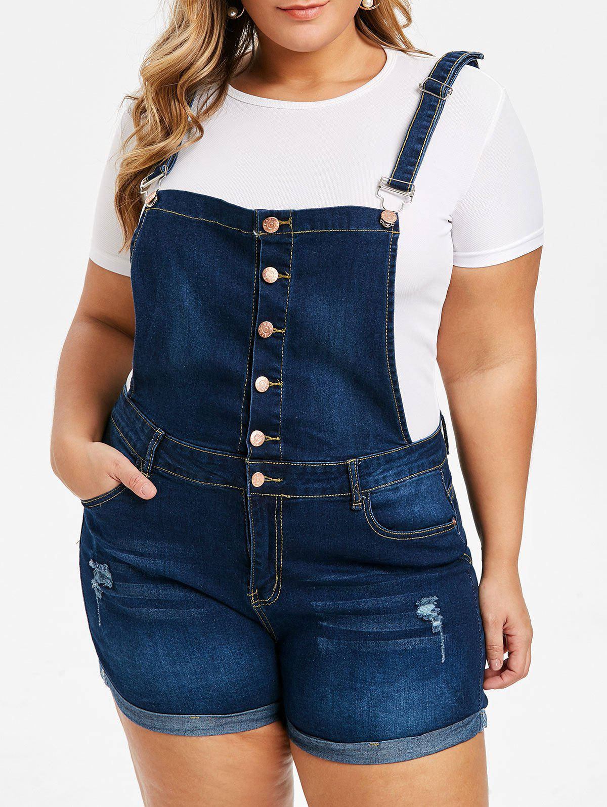 Trendy Plus Size Cuffed Distressed Denim Overall Shorts