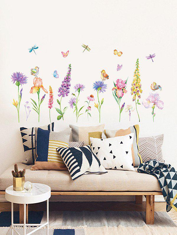 Unique Cartoon Flowers Butterflies and Birds Print Removable Wall Art Stickers